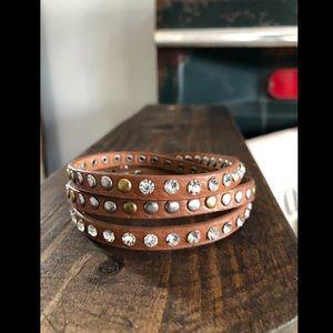 Brown Wrap Around Bracelet w/button - easy latch
